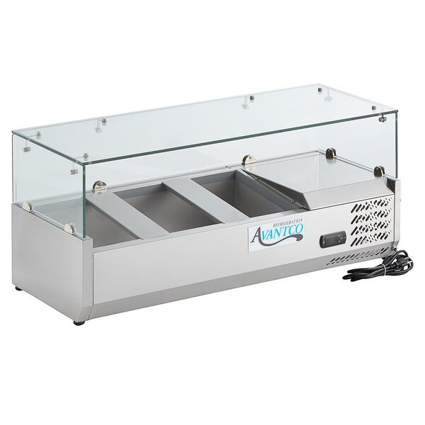 Avantco CPT-40 40 inch Countertop Refrigerated Prep Rail with Sneeze Guard