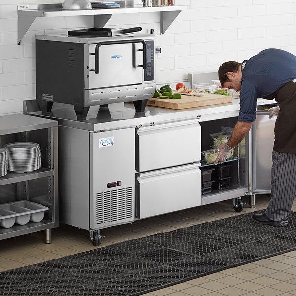 "Avantco 67"" Stainless Steel Extra Deep Worktop Refrigerator with 3 1/2"" Backsplash with 2 Left Drawers and 1 Door Main Image 8"