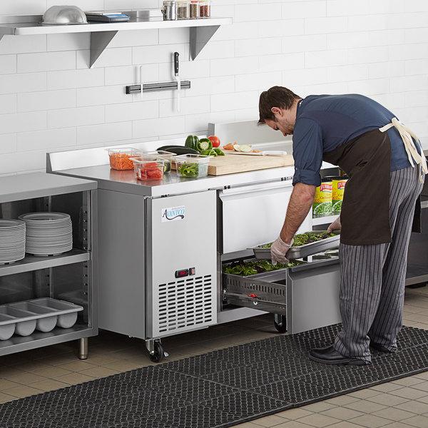 "Avantco 44"" Stainless Steel Two Drawer Extra Deep Worktop Refrigerator with 3 1/2"" Backsplash Main Image 7"