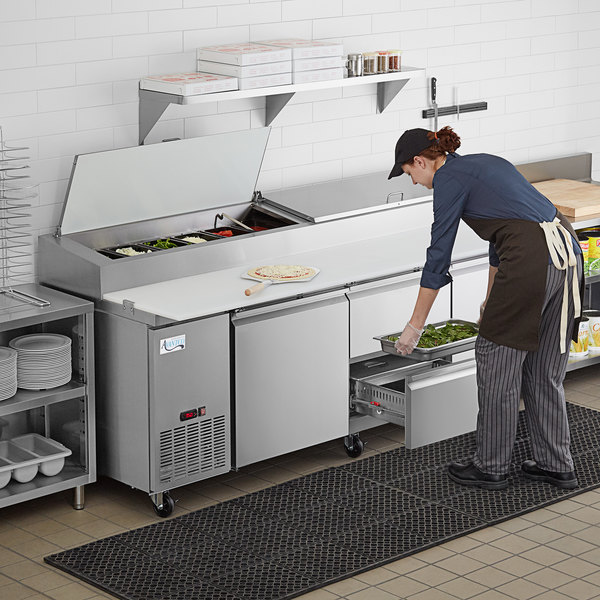 """Avantco SSPPT-3F 93"""" 2 Door Refrigerated Pizza Prep Table with 2 Drawers Main Image 7"""