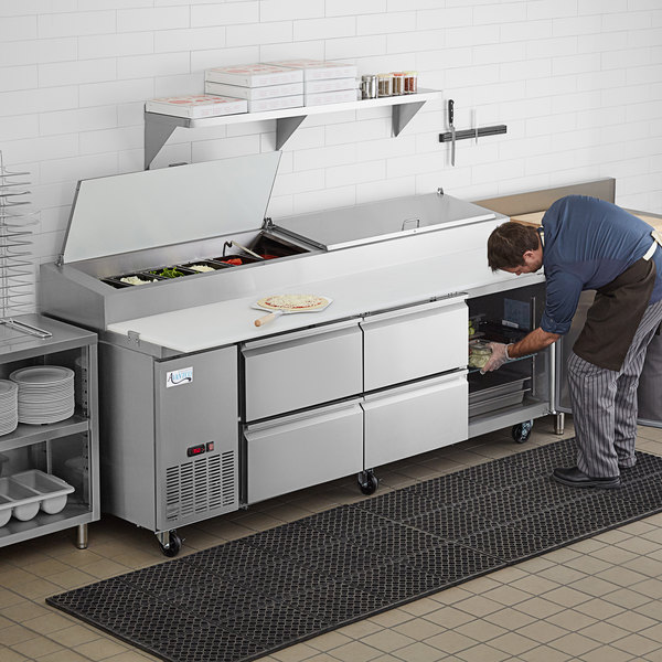 """Avantco SSPPT-3K 93"""" 1 Door Refrigerated Pizza Prep Table with 4 Drawers Main Image 7"""