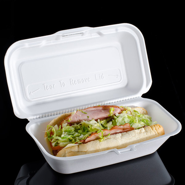 """Dart 99HT1R 10"""" x 5 1/2"""" x 3"""" White Foam Hoagie Take Out Container with Perforated Hinged Lid - 500/Case"""