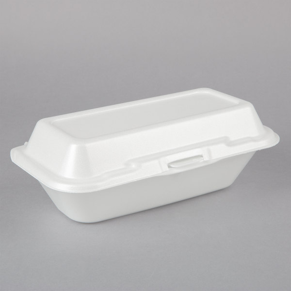 Dart 99HT1R 10 inch x 5 1/2 inch x 3 inch White Foam Hoagie Take Out Container with Perforated Hinged Lid - 500/Case
