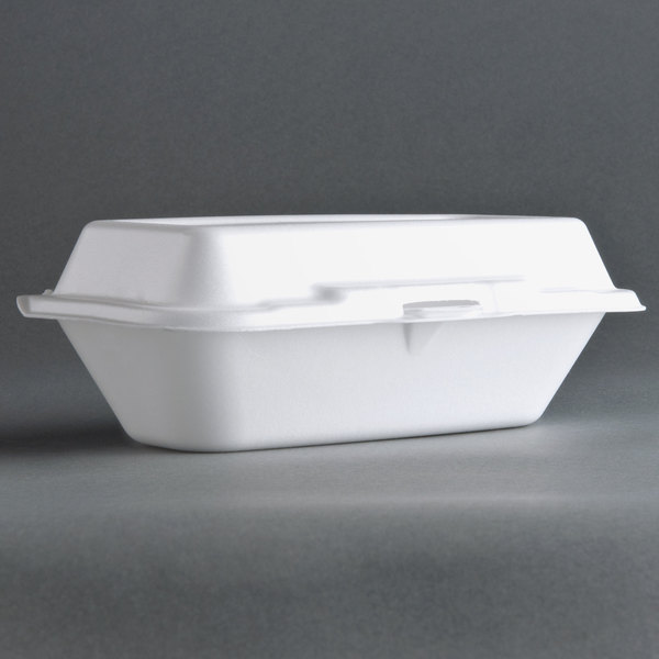 Dart Solo 99HT1R 10 inch x 5 1/2 inch x 3 inch White Foam Hoagie Take Out Container with Perforated Hinged Lid  - 500/Case
