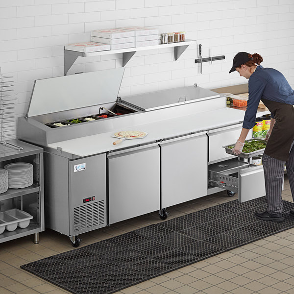 """Avantco SSPPT-3E 93"""" 2 Door Refrigerated Pizza Prep Table with 2 Drawers Main Image 7"""
