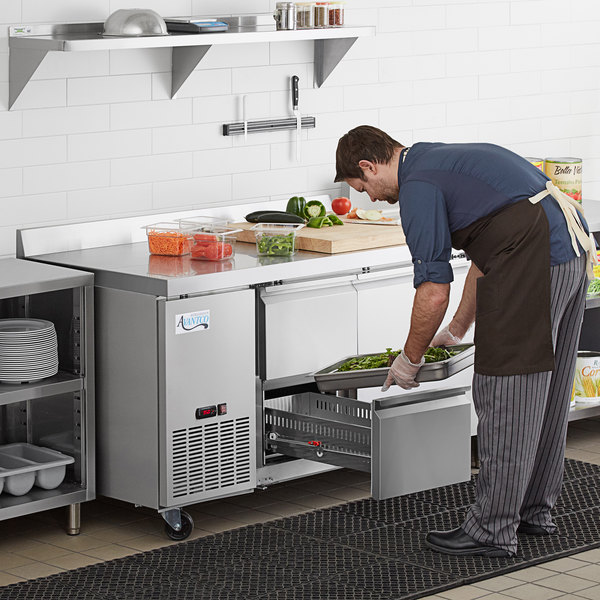 "Avantco 60"" Stainless Steel Extra Deep Worktop Refrigerator with 3 1/2"" Backsplash with 2 Left Drawers and 1 Door Main Image 8"