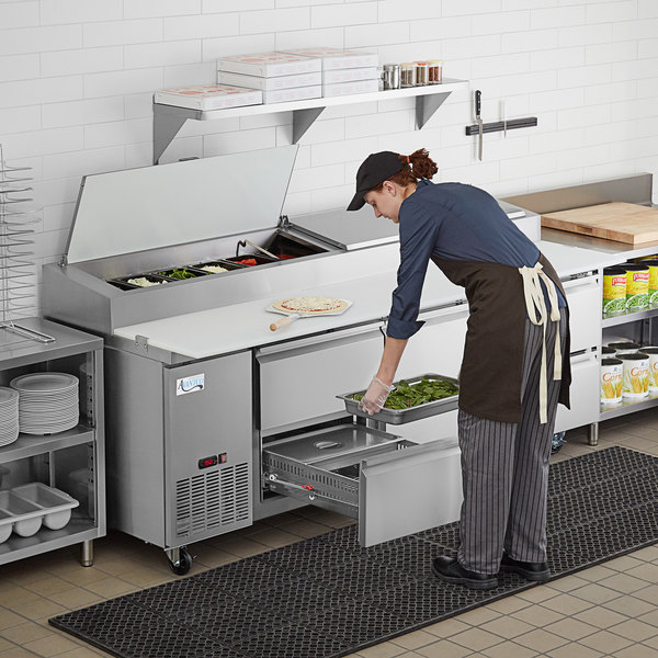 """Avantco SSPPT-3J 93"""" 1 Door Refrigerated Pizza Prep Table with 4 Drawers Main Image 7"""