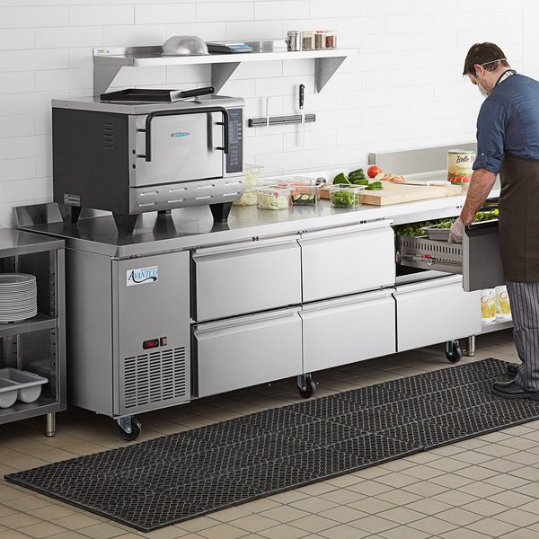 "Avantco 93"" Stainless Steel Six Drawer Extra Deep Worktop Refrigerator with 3 1/2"" Backsplash Main Image 7"