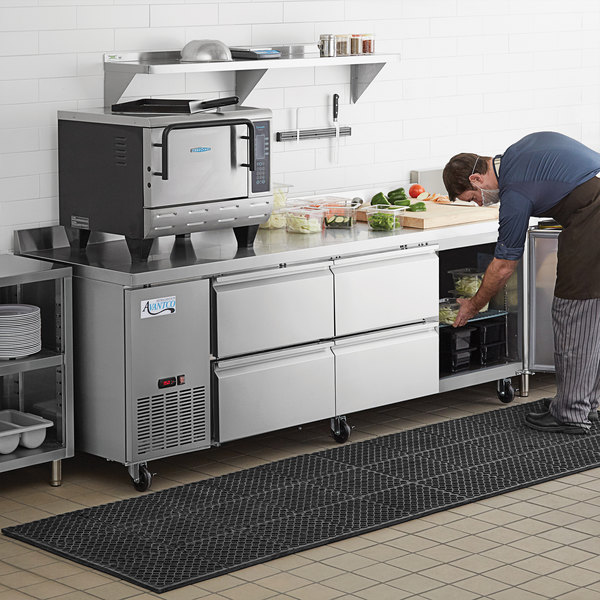 "Avantco 93"" Stainless Steel Worktop Refrigerator with 3 1/2"" Backsplash with 4 Left Drawers and 1 Door Main Image 8"