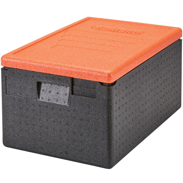 """Cambro EPP180CLSW363 Cam GoBox® Full Size 8"""" Deep Top Loader Insulated Food Pan Carrier with Orange Lid - 24"""" x 16"""" x 12 1/2"""" Main Image 1"""