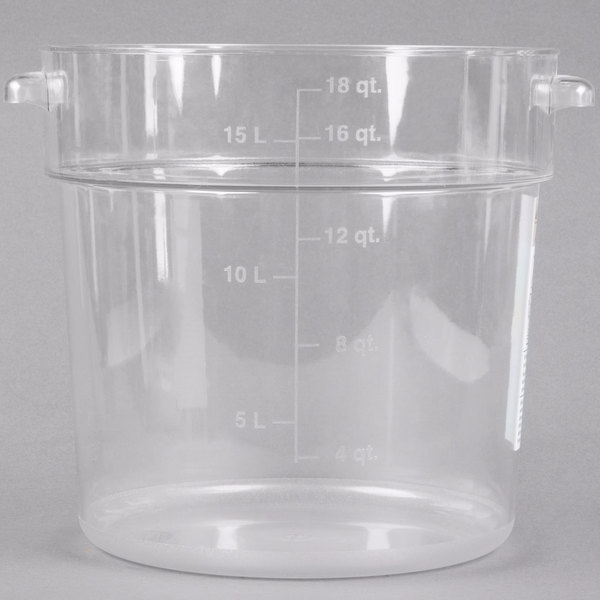 Carlisle 1076807 StorPlus 18 Qt. Clear Round Food Storage Container Main Image 1