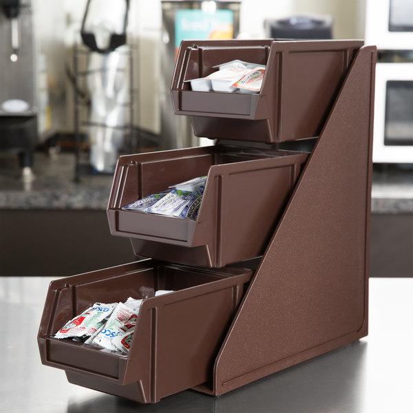 "Vollrath 4842-01 Traex Brown Self-Serve Condiment Bin Stand Set with 3-Tier Stand and 8"" Condiment Bins"
