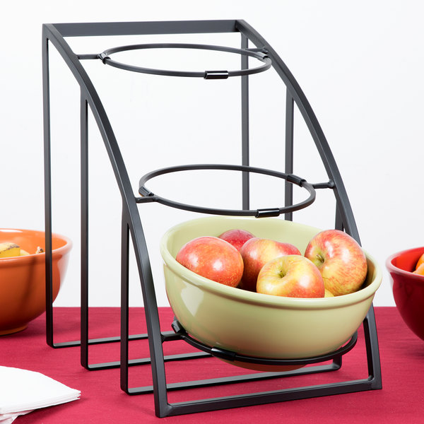"""Cal-Mil 1712-10-13 Mission 10"""" Black Round Bowl Display Stand - 12"""" x 19"""" x 17 1/2"""""""