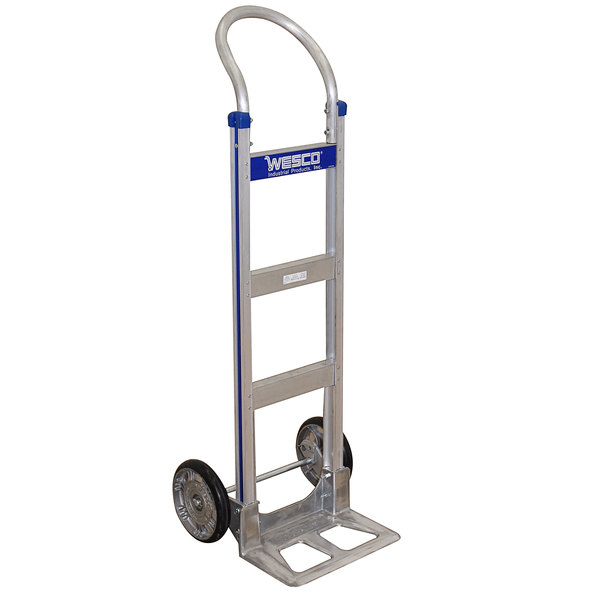 "Wesco Industrial Products 220375 Cobra-Lite Series 410 600 lb. Aluminum Hand Truck with 10"" PE Pneumatic Wheels and 14"" Nose Plate Main Image 1"