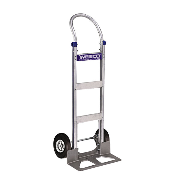 """Wesco Industrial Products 220396 Cobra-Lite Series 410 600 lb. Aluminum Hand Truck with 10"""" Solid Rubber Wheels and 18"""" Nose Plate Main Image 1"""