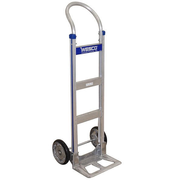 """Wesco Industrial Products 220370 Cobra-Lite Series 410 600 lb. Aluminum Hand Truck with 10"""" Solid Rubber Wheels and 14"""" Nose Plate Main Image 1"""