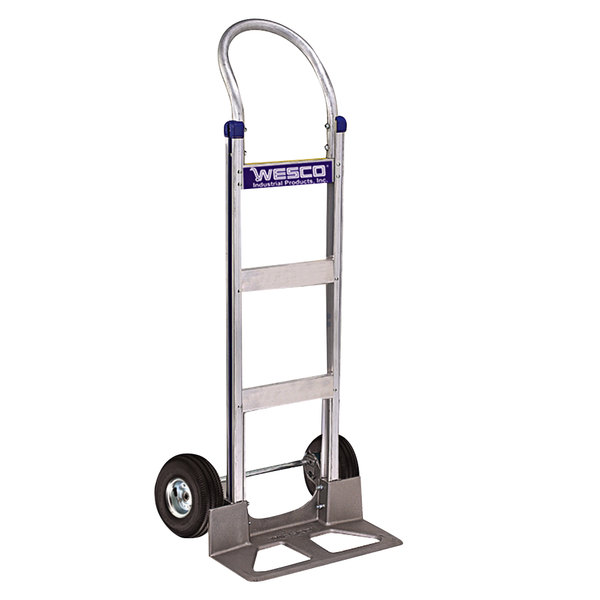 "Wesco Industrial Products 220365 Cobra-Lite Series 410 600 lb. Aluminum Hand Truck 10"" PE Pneumatic Wheels and 18"" Nose Plate Main Image 1"