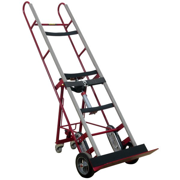 "Wesco Industrial Products 230018 1200 lb. Steel Appliance Hand Truck with 8"" Moldon Rubber Wheels and Auto-Rewind Ratchet Main Image 1"