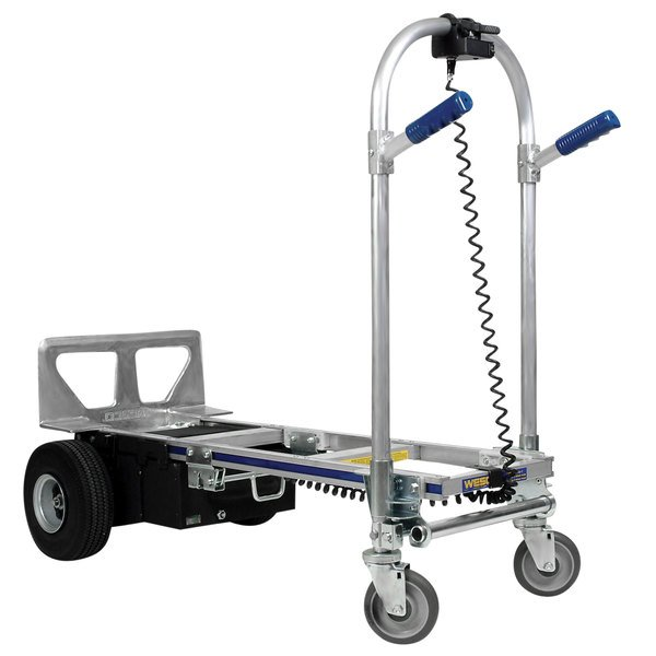 "Wesco Industrial Products 220653 CobraPro Jr. 600 / 1200 lb. Battery-Powered Convertible Hand Truck with 10"" Pneumatic Wheels and Dual Hand Grips - 24V Main Image 1"