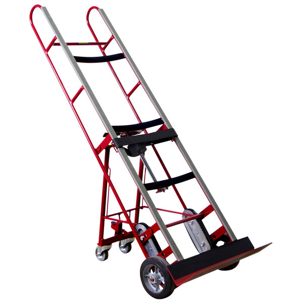 """Wesco Industrial Products 230036 1200 lb. Steel Appliance Hand Truck with 8"""" Moldon Rubber Wheels and Manual Ratchet Main Image 1"""
