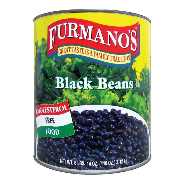 Furmano's #10 Can Fancy Black Beans in Brine - 6/Case