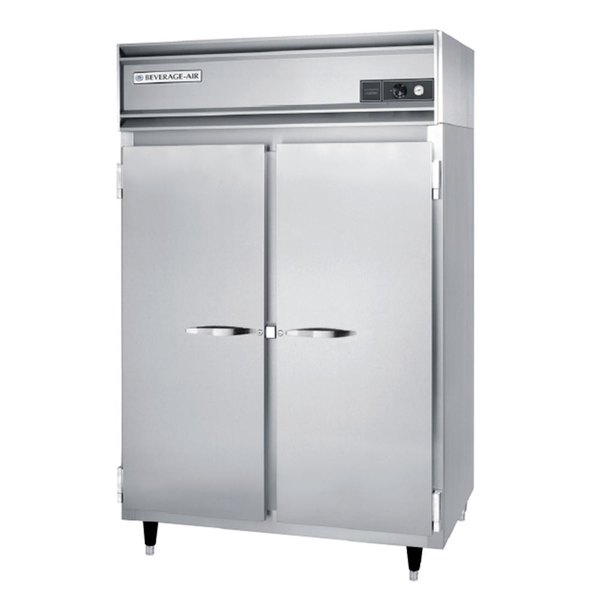 Beverage Air PH2-1S-PT Two Section Solid Door Pass-Through Heated Holding Cabinet - 48 cu. ft., 3000W