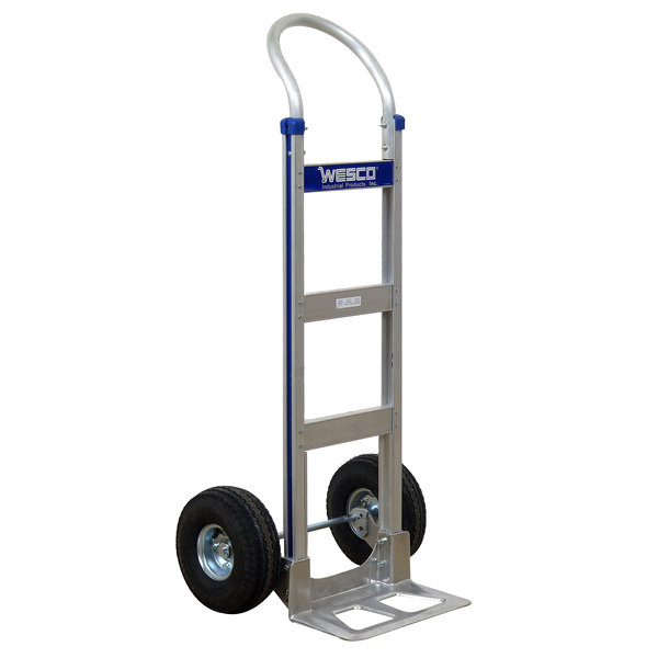 """Wesco Industrial Products 220322 Cobra-Lite Series 410 600 lb. Aluminum Hand Truck with 10"""" Pneumatic Wheels and 14"""" Nose Plate Main Image 1"""