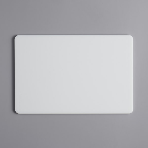 """Tomlinson Chef's Edge 18"""" x 12"""" x 1/2"""" White Polyethylene Cutting Board with Microban Protection Main Image 1"""