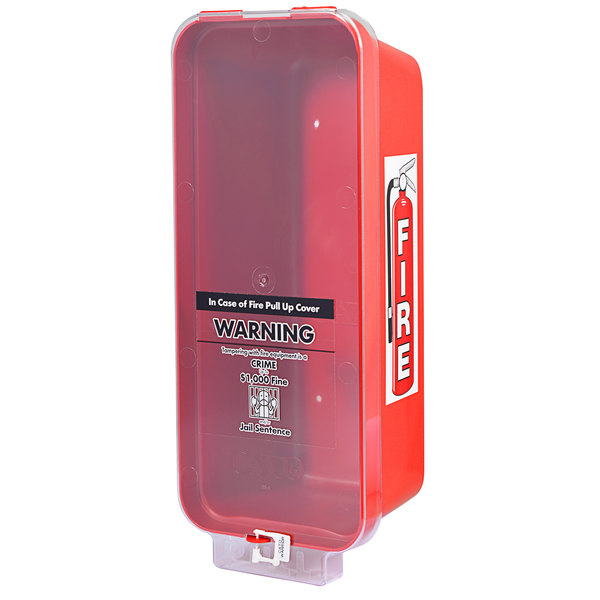 Cato 95551 Warrior Red Surface-Mounted Fire Extinguisher Cabinet with Clear Pull-Cover for 2 1/2 lb. or 5 lb. Fire Extinguishers Main Image 1