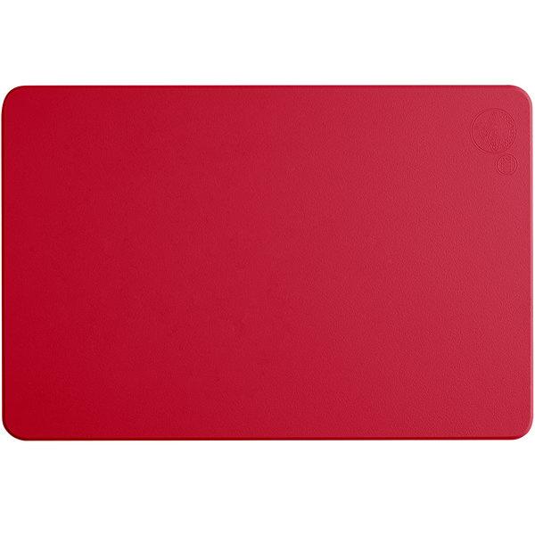 """Tomlinson Chef's Edge 18"""" x 12"""" x 1/2"""" Red Polyethylene Cutting Board"""