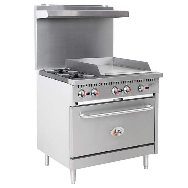 """Cooking Performance Group S36-G24-P Liquid Propane 2 Burner 36"""" Range with 24"""" Griddle and Standard Oven - 130,000 BTU"""