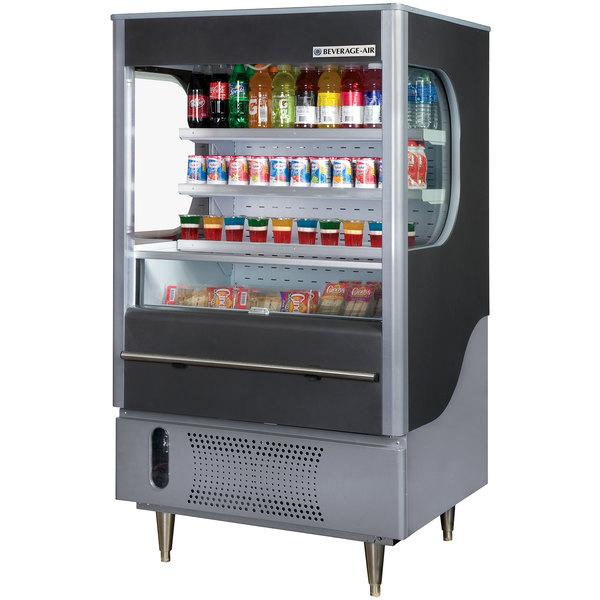 """Beverage-Air VM7-1-B VueMax 35"""" Black and Gray Air Curtain Merchandiser Main Image 1"""
