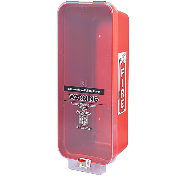 Cato 95151 Warrior Red Surface-Mounted Fire Extinguisher Cabinet with Clear Pull-Cover for 10 lb. Fire Extinguishers Main Image 1
