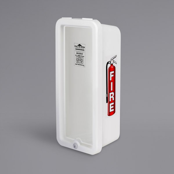 Cato 10501-P Island Chief White Surface-Mounted Fire Extinguisher Cabinet with Pull-Panel for 5 lb. Fire Extinguishers Main Image 1