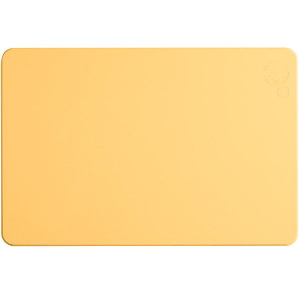 "Tomlinson Chef's Edge 18"" x 12"" x 1/2"" Yellow Polyethylene Cutting Board Main Image 1"
