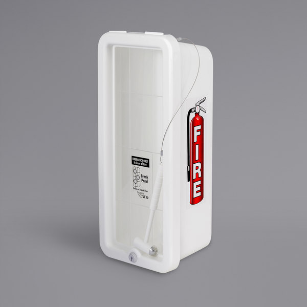 Cato 10501-H Chief White Surface-Mounted Fire Extinguisher Cabinet with Hammer Attachment for 5 lb. Fire Extinguishers Main Image 1