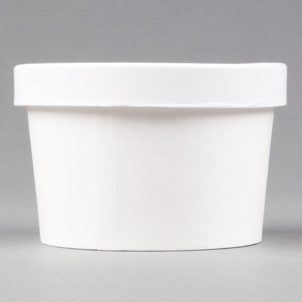 Choice 8 oz. Double Poly-Coated White Paper Soup / Hot Food Cup with Vented Paper Lid - 250/Case