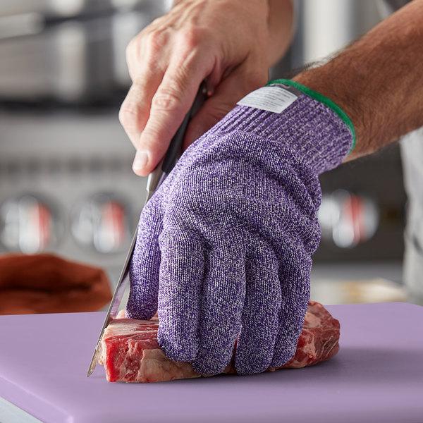 San Jamar SG10-PR-M Purple A7 Level Cut Resistant Glove with Dyneema - Medium Main Image 3