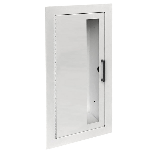 """JL Industries 2015V10FX2 Ambassador Series White Fire-Rated Steel Cabinet for 20 lb. Fire Extinguishers with Vertical Window and Fully Recessed 7 3/4"""" Depth Main Image 1"""