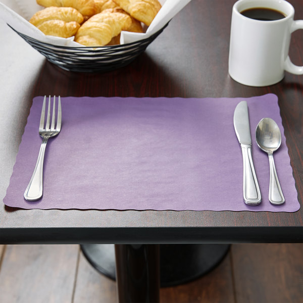 "10"" x 14"" Purple Colored Paper Placemat with Scalloped Edge - 1000/Case"