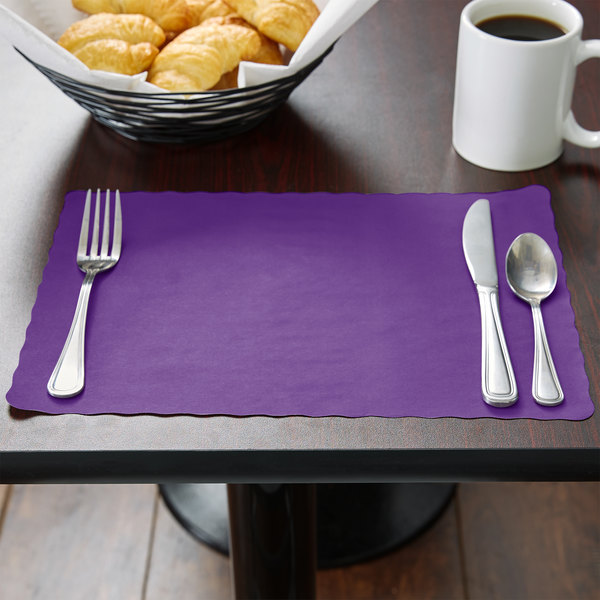 """Choice 10"""" x 14"""" Purple Colored Paper Placemat with Scalloped Edge - 1000/Case Main Image 3"""