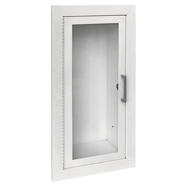 """JL Industries 2015F10 Ambassador Series White Steel Cabinet for 20 lb. Fire Extinguishers with Full Window and Fully Recessed 7 3/4"""" Depth Main Image 1"""