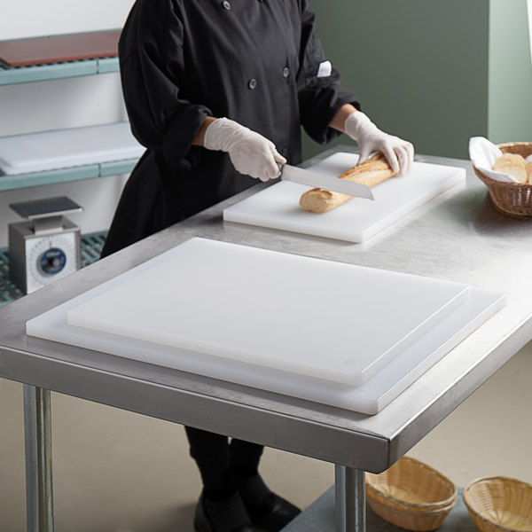 """3/4"""" Thick 3-Board White Polyethylene Cutting Board System Main Image 2"""