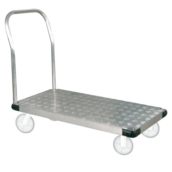 """Wesco Industrial Products 273602 25"""" x 49"""" Thrifty Plate Commercial Aluminum Platform Truck - 2400 lb. Capacity Main Image 1"""
