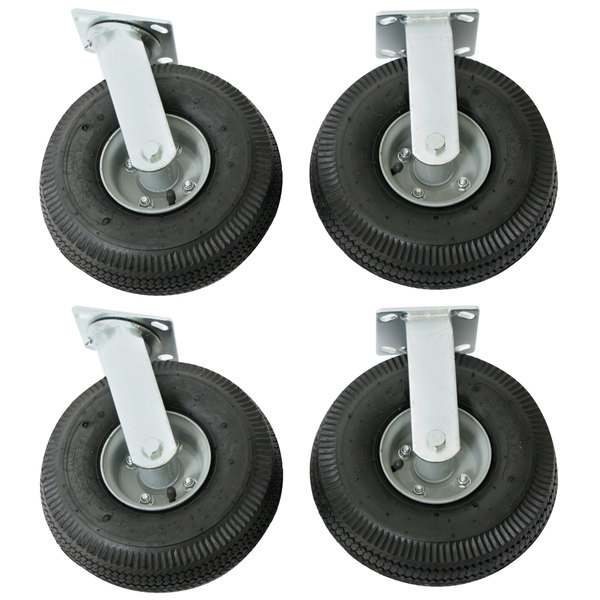 """Wesco Industrial Products 272195 10"""" x 3 1/2"""" 1600 lb. Capacity Full Pneumatic Swivel and Rigid Caster Set for Platform Truck - 4/Set"""