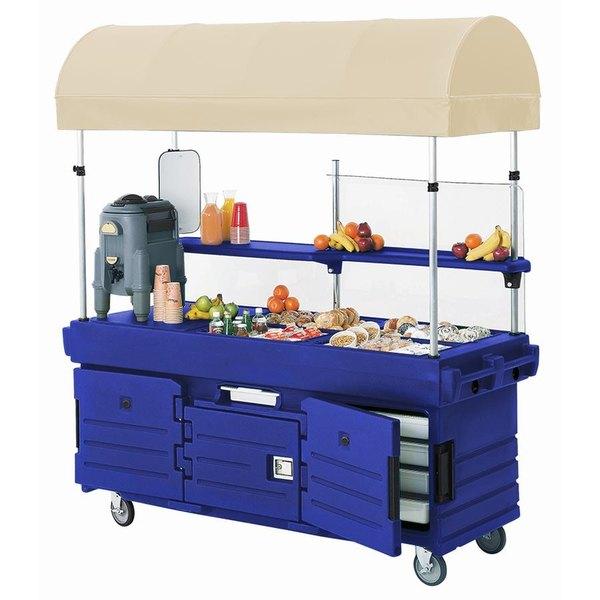 Cambro KVC854C186 CamKiosk Navy Blue Customizable Vending Cart with 4 Pan Wells and Canopy