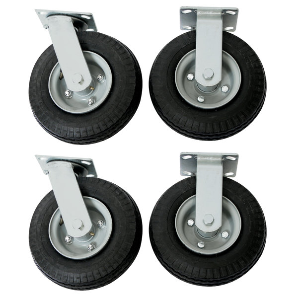 """Wesco Industrial Products 272194 8"""" x 2 1/2"""" 1600 lb. Capacity Full Pneumatic Swivel and Rigid Caster Set for Platform Truck - 4/Set Main Image 1"""