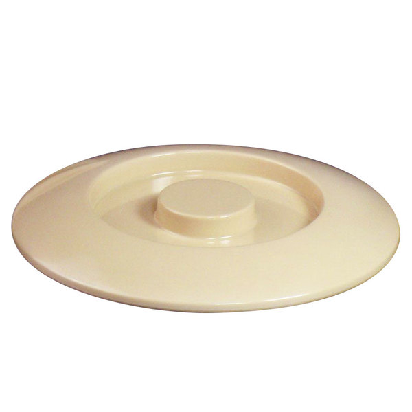 "Thunder Group NS608CT Nustone Tan Melamine Server Lid 8 1/4"" - 12/Pack"
