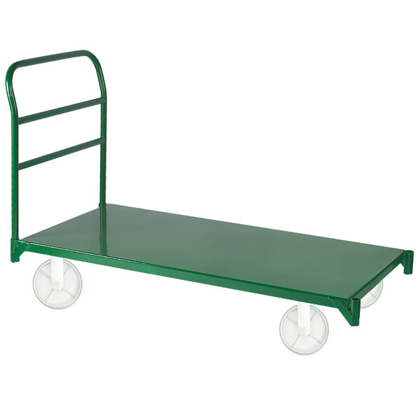 "Wesco Industrial Products 272268 27"" x 57 1/2"" 4000 lb. Green Heavy-Duty Steel Platform Truck Main Image 1"