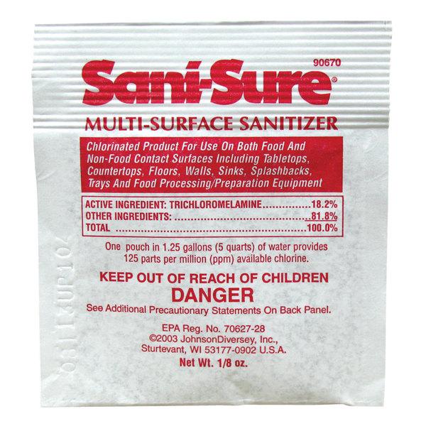 Diversey 90670 Sani-Sure 1/8 oz. Multi-Surface Sanitizer Packet - 100/Case